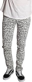 KDNK Men's Skinny Fit Stretch Twill Zipper Fly 5 Pocket Scribble Print Pants