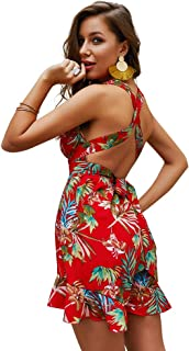 Halfword Women Sleeveless Strap Bandage Rompers V-Neck Print Loose Casual Rompers Jumpsuits