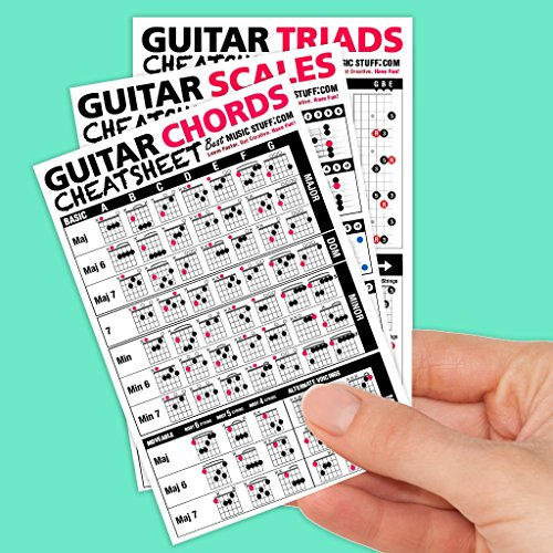 Guitar Cheatsheets Bundle (Chords, Scales, and Triads Cheatsheet  Laminated Pocket Reference (SMALL - 4-in x 6-in)