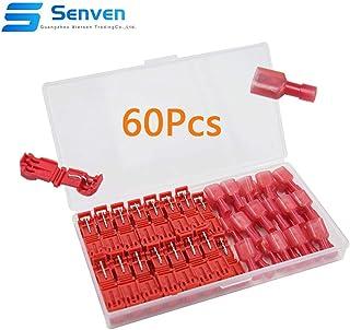 Senven® 60Pcs T-Tap Terminal Cable, T-Tap Empalme Rápido Kit, Grifo de Empalme de Cable Rápido y Conector Macho Spade Completamente Aislado (Rojo 30 Pares)