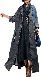 JQ3 Women Fashion Long Loose Maxi Distressed Denim Trench Jacket Coat Casual Plus Size Lapel Fringed Cut Large Hem