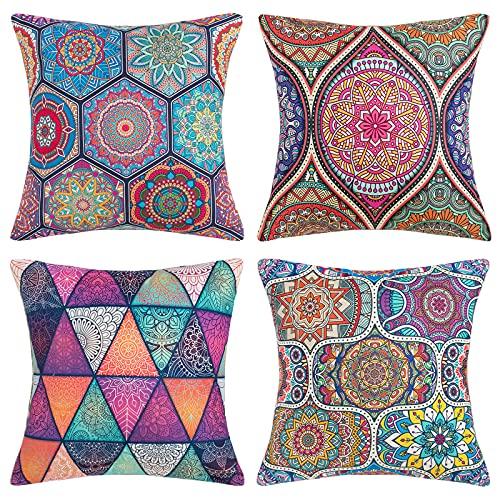 DakTou 4 Ser Dekorative Kissenbezug Kissen Outdoor-Shell-Kissenbezug Für Sofa Couch Schlafzimmer Dekokissen Sofakissen mit Verstecktem Reißverschluss 45x45cm