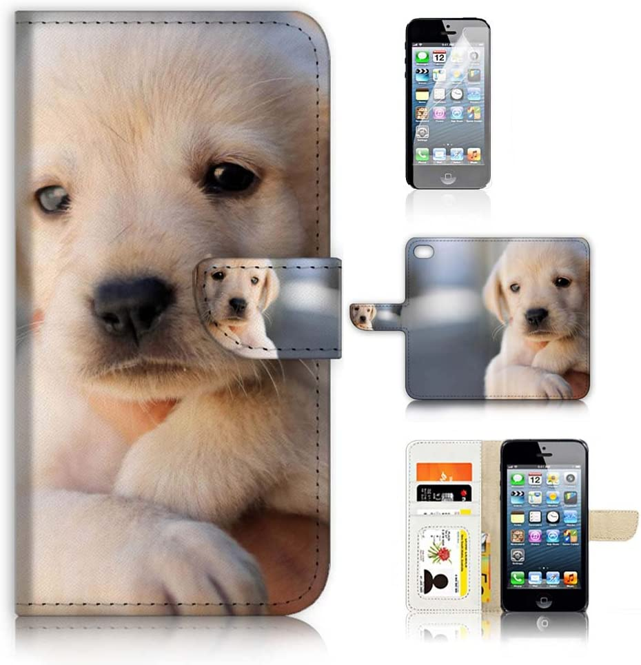 (for iPhone 6 / iPhone 6S) Flip Wallet Case Cover & Screen Protector Bundle - A21086 Cute Puppy Dog