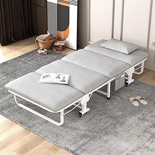 JKXWX Cama Plegable Rollaway Plegable Cama de Invitados Oficina Almuerzo Break Break Break Folding Bed Single Simple Home Portable Sponge Pobling Cama de Camping (Color : 80cm)