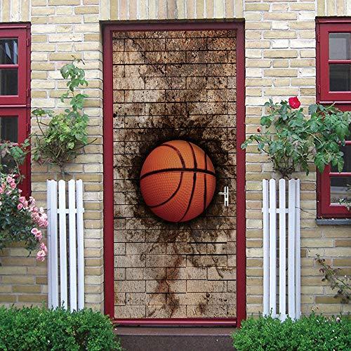 QHDHGR Engomada del Arte Moderno 3D Puerta Marrón y baloncesto Vinilo Impermeable Extraíble Murales de Papel Decorativos Para el Hogar Baño Sala de estar Dormitorio Decoración 80 x 210cm(An x Al)