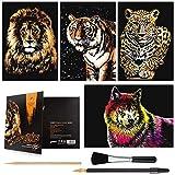 Scratch Art Paper (A4) for Kids & Adults, Rainbow Painting Night View Scratchboard, Art Craft, Crafts Set: 4 Scratch Cards Tiger/Leopard/Lion/Wolf & Scratch Drawing Pen, Clean Brush(Ferocious Animals)