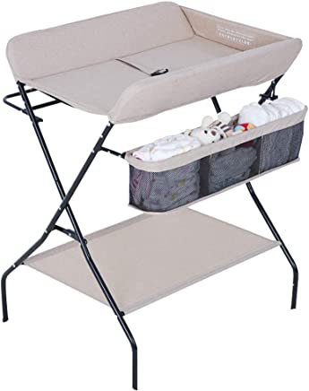 JINYANG Baby Changing Station Children Portable Clothes Diaper Changing Table Newborn Massage Table Storage Foldable Safety Straps Nursery