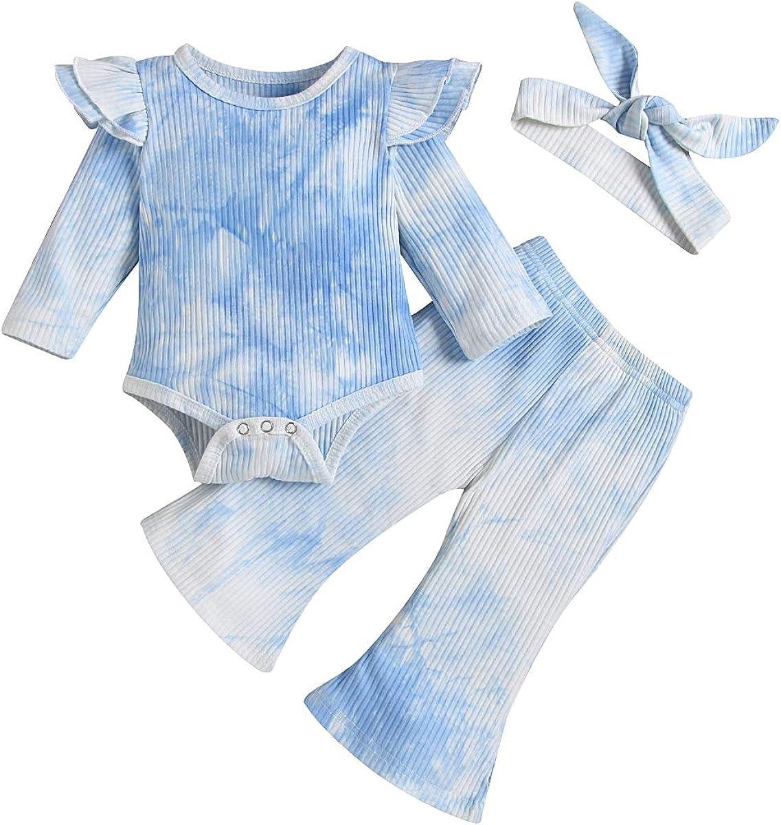 bilison Baby Girl Boy Clothes Newborn Baby Tie-Dye Ruffle Sleeve Romper Top+Long Pants Little Girl Boy Outfits