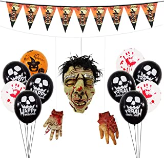 Halloween Decorations Set Hanging Severed Head Hands Latex Balloons Banner Creepy Horror Theme Party Ornaments