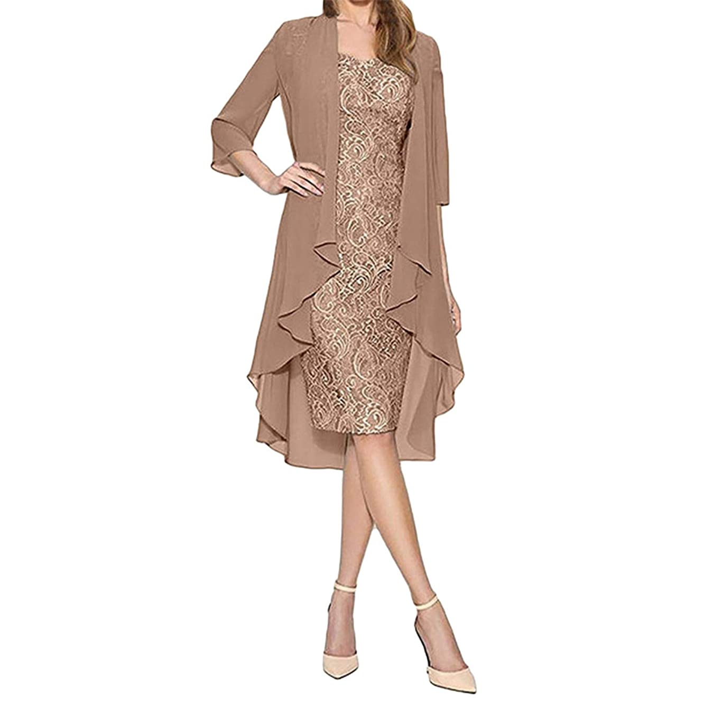 LEERYAAY Women's Dresses Summer Casual Two Piece Fashion Chiffon Cardigan Lace European American
