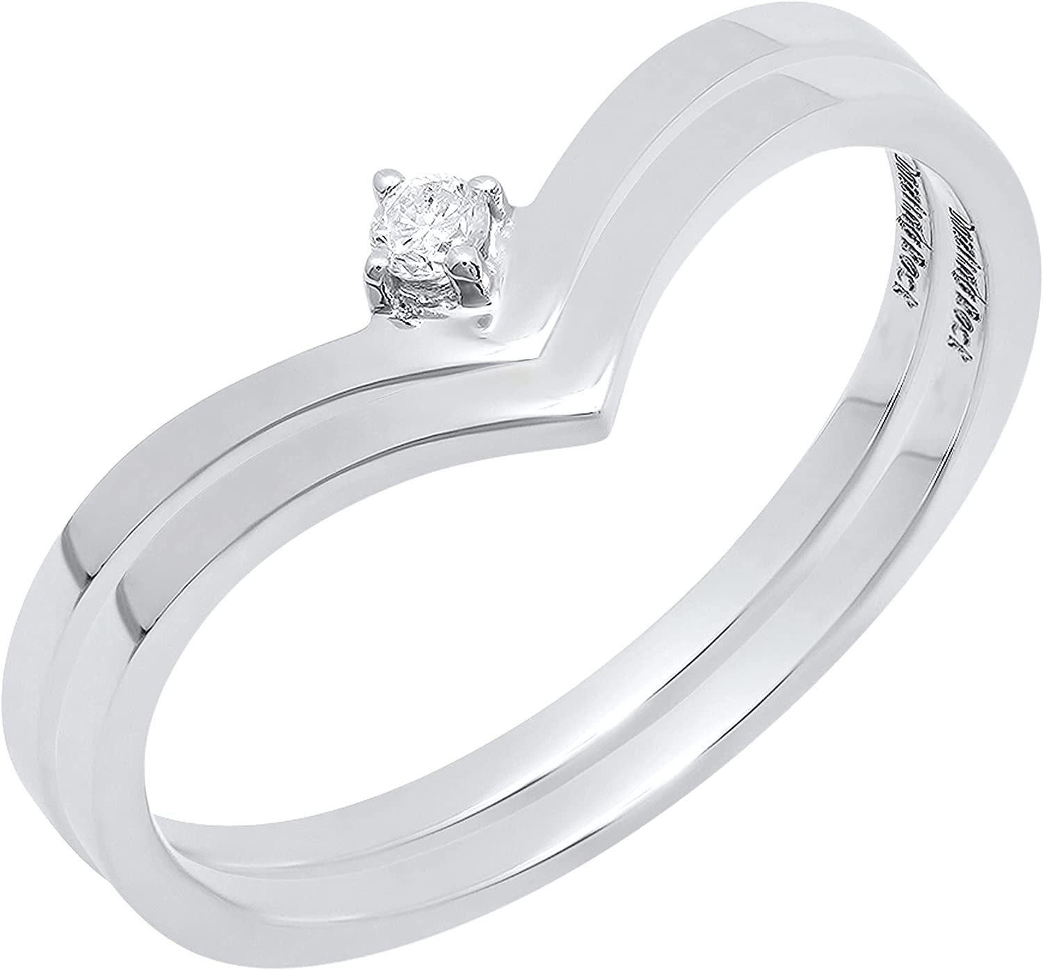 Dazzlingrock Collection 0.05 Carat (ctw) Round White Diamond Ladies Classic Solitaire Chevron V Shape Engagement Ring with Perfectly Matching Wedding Band | Available in 10K/14K/18K Gold