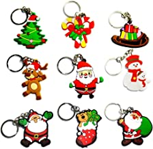 Gemini_mall® 10pcs Christmas Ornaments Santa Claus Pendant Keyrings Snowman Christmas Tree Keychains Handbag Charms Party Favours Party Bag Fillers Xmas Gifts (10pcs (Random Pattern))