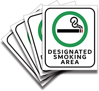 Designated Smoking Area Sticker Sign – 4 Pack 6x7 in – Premium Self-Adhesive Vinyl, Laminated for Ultimate UV, Weather, Sc...