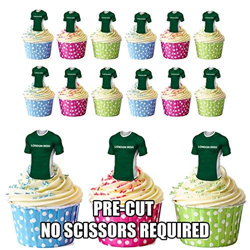 Essbare Cupcake-Topper/Kuchen-Dekoration mit London-Irish-Rugby-Shirts, vorgeschnitten, 12 Stück