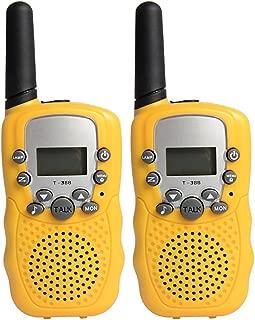Alician 2Pcs Kids Walkie Talkies Toys with Earphones Flashlights Radio for Outdoor YellowBatteries
