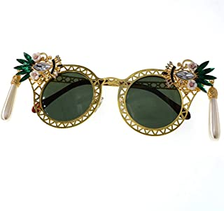 LUKEEXIN Personality Full Metal Flower Crystal Lady's Baroque Sunglasses UV Protection for Driving Travelling (Color : Gold)
