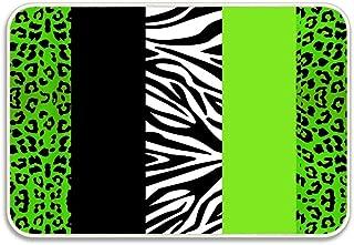 Huayuanhurug Lime Green Animal Print Stripes Zebra Leopard Flannel Doormat Bathroom Rugs,Absorbent Door Mats Carpet Anti Slip Backing 15.7x23.6inch