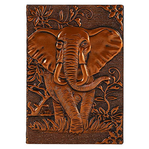 """Ruled Notebook/Journal - Lined Journal, 8.4"""" X 5.8"""",Distressed Hardcover with Elephant Relief, Premium Thick Paper, Bookmark, Classic Writing Notebook, Perfect for School, Office & Home"""