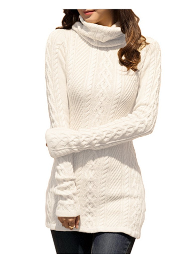 Sweater Dress - Women Sweater Dress Turtleneck Ribbed Knit Slim Fit Long Sleeve Midi Dress