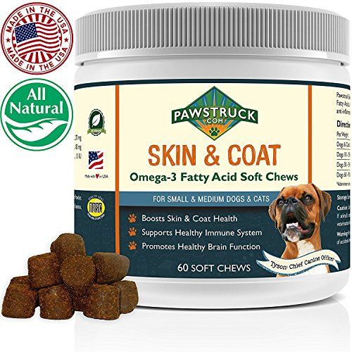 Natural Omega 3 Fish Oil for Dogs & Cats Soft Chew Supplement (Small & Medium Dogs/Cats, 60 CT) w/ Omega-3 Fatty Acids, EPA, DHA, Vitamin E for Healthy Skin, Coat, Joints & Brain Function, Made in USA