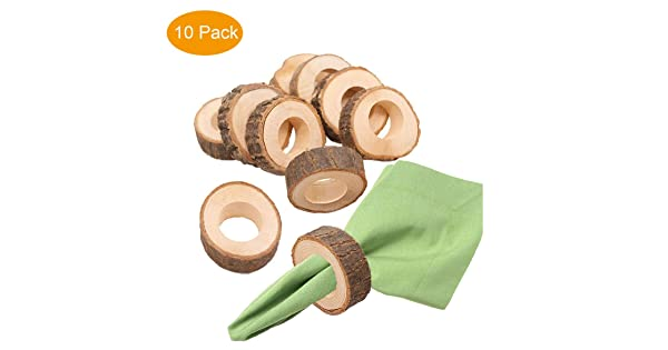 Jerald Norton Ltd Handcrafted Rustic Wood Napkin Rings for Table Decoration Thanksgiving Dinner Wedding Parties,Set of 10