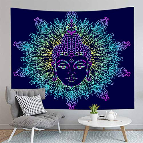 WERT Buddha tapestry bohemian wall hanging carpet fabric yoga mat sleeping blanket home decoration tapestry background cloth A15 130x150cm