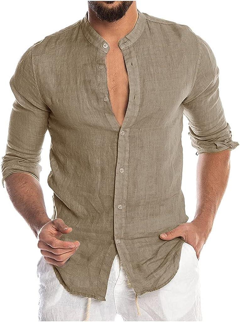 Aayomet Men's Cotton Linen Shirts Long Sleeve Button Down T-Shirt Workout Casual Loose Yoga Sport Beach Tee Shirts Tops