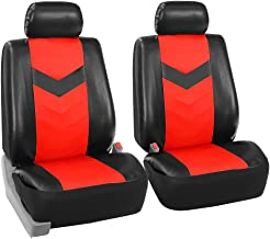 FH Group FH-PU021102 Synthetic Leather Pair Set Car Seat Covers Airbag Compatible, Red/Black Color- (Minimal Black Stains Final Sale)