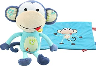 Wingingkids Cozy Security Blanket Set, Curly Tails Plush Monkey + Ultra Soft Breathable Lovie Snuggle Baby Blanket, Light Blue