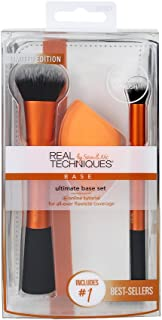 Real Techniques Ultimate Base Set, Includes: Expert Face Brush, Miracle Complexion Sponge, Deluxe Concealer Brush, and Exclusive Mirror To-Go Case, Synthetic Materials