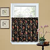 Waverly Felicite Rod Pocket Curtains for Kitchen and Bathroom, Double Panel, 60' x 36', Noir