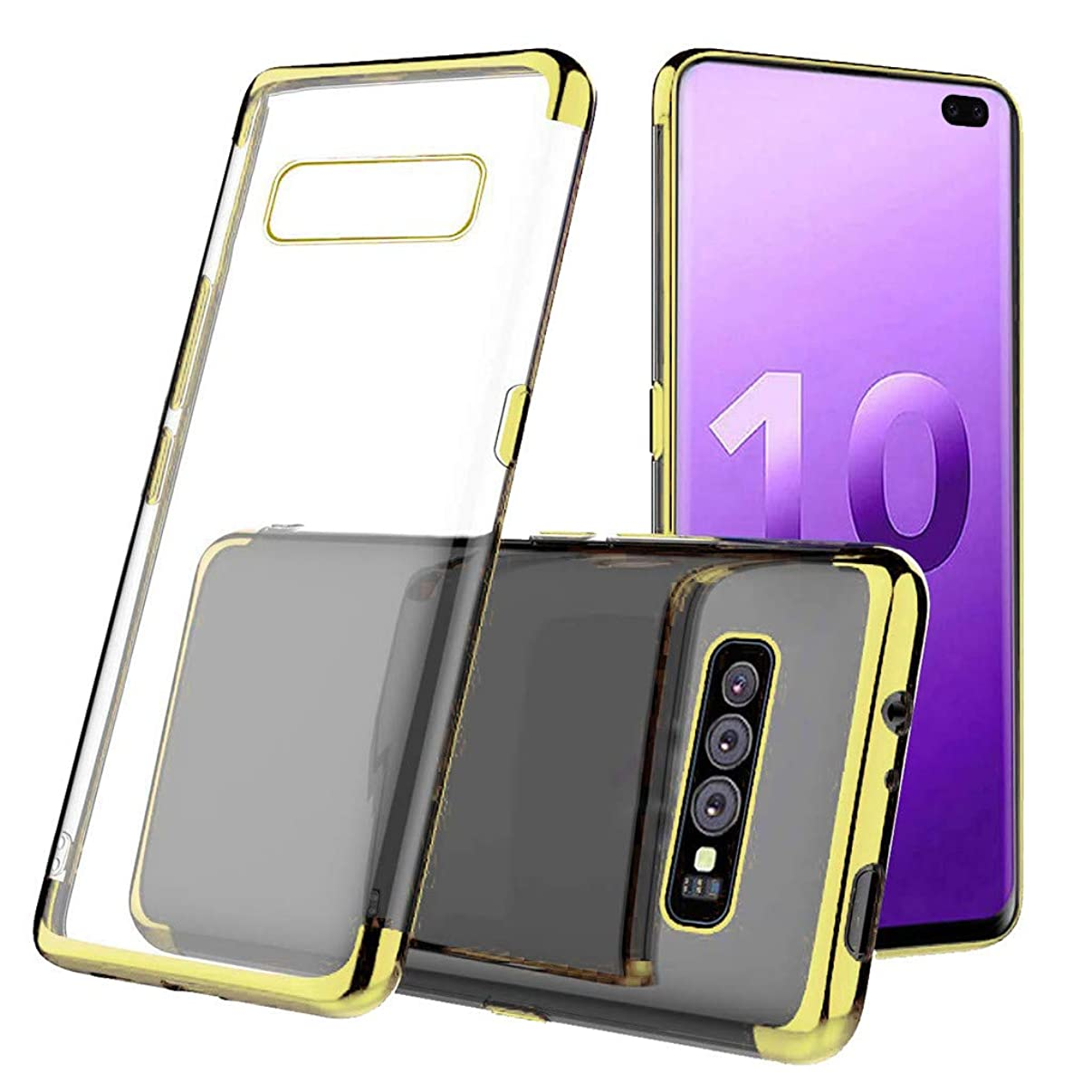 Ecurson Soft Silicone TPU Case Cover for Samsung S10 Plus 6.3inch, Slim Soft Protective Cases, Shock-Proof Protective TPU Gel Cover, Anti-Scratch