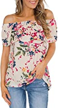 Pongfunsy Women's T-Shirt, Summer Stretch Off Shoulder Shortsleeve Small Floral Print Plus Size Ruched Ruffled Tops