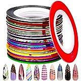 32 Colors Nail Striping Tape Line , FANDAMEI Multicolor Rolls Striping Tape Line Nail Art Decoration Sticker DIY Nail Tip