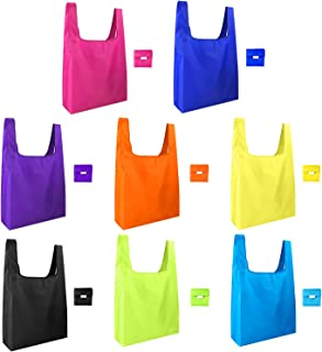 KUUQA 8 Pack Reusable Grocery Bags Reusable Shopping Bags with Pouch Foldable Bags for Groceries,Shopping,Travel