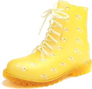 Minibella Boys Girls Waterproof Rain Boots Kids Lace-Up Side Zipper Rain Shoes