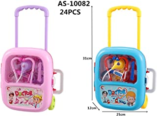 INCHOI Trolley case Simulation Children's Toys Doctor Medical kit Set with Light and Sound! (Blue)