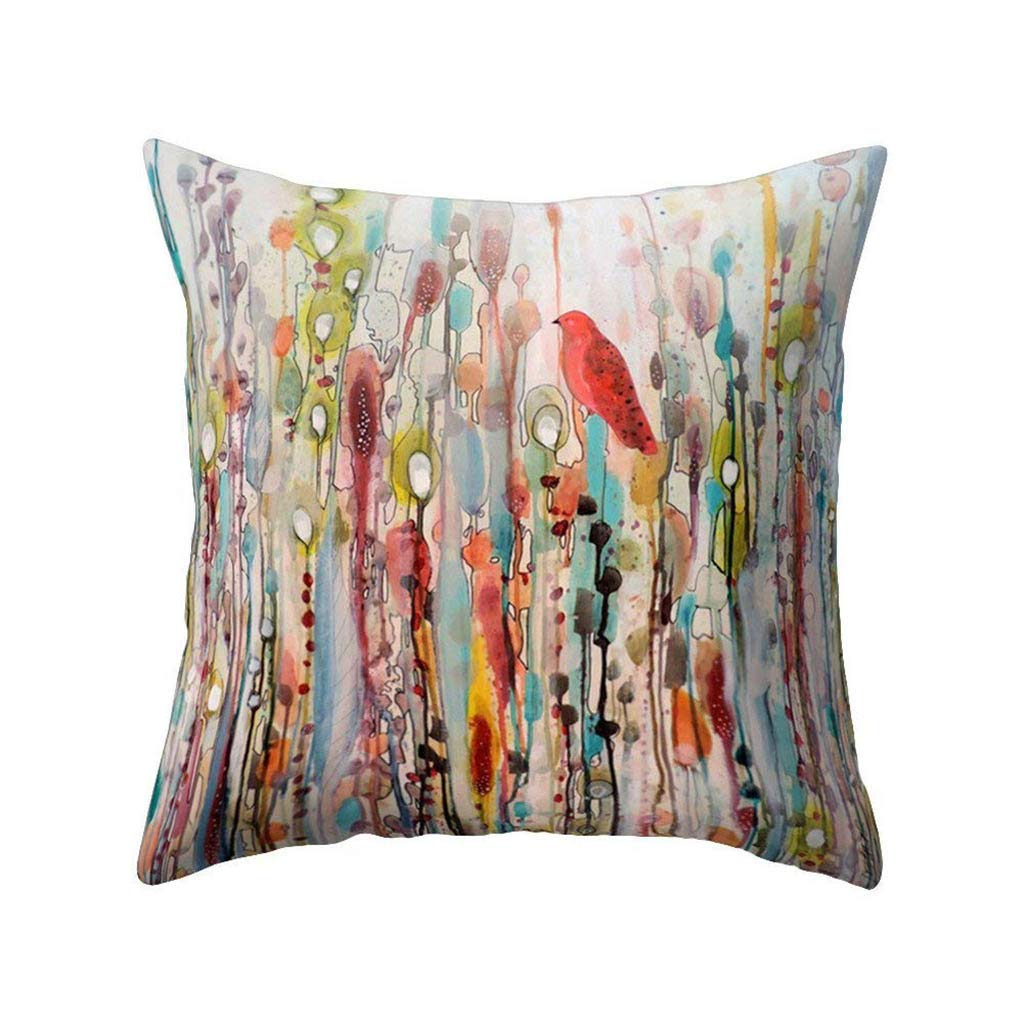 Wenini 18 X 18 Inch Painting Bird Throw Pillow Cover Colorful Spring Bird Pillow Case Linen Burlap Square Decorative Buy Online In Cayman Islands At Cayman Desertcart Com Productid 125305789