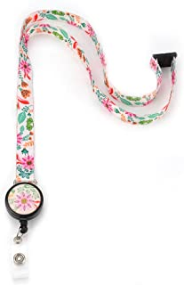 Grekywin Flowers Lanyard Keychain for Women, Neck Lanyards, ID Badge Holder for Teacher, Students