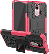 Mobile phone case Shockproof PC + TPU Tire Pattern Case for LG K40, with Holder (Black) (Color : Pink)