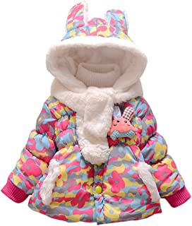 Baby Girls Infant Winter Rabbit Hood Thick Outerwear Hoodie Coats Camo Fur Bunny Jackets with Scarf
