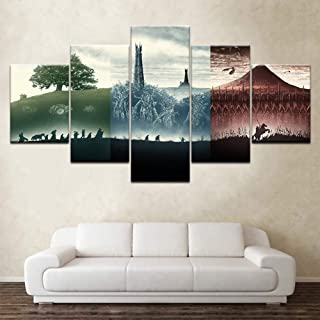 SFXYJ 5 Piece Canvas Print Lord of The Rings Movie - Wallpapers Modern Modular Poster - Wall Art Painting for Living Room Home Decor,B,40×60×2+40×80x2+40×100×1