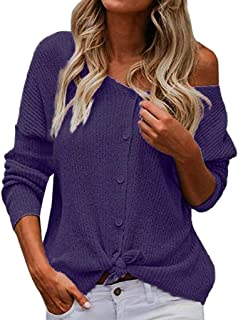 Kiyotoo Womens Waffle Knit Tops V-Neck Casual T Shirt Tie Knot Loose Fitting Sweater Long Sleeve Sweatshirts Fashion