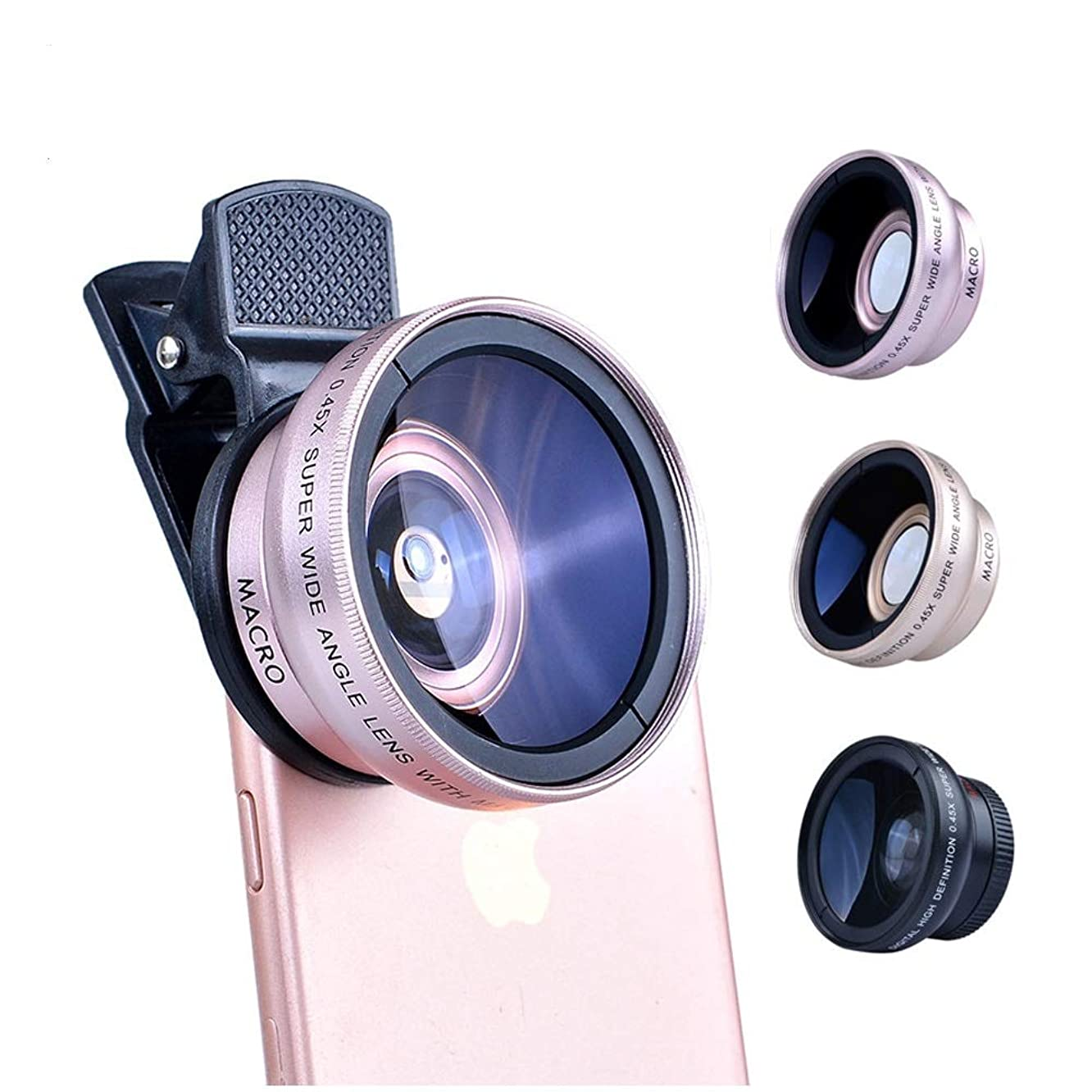 Phone Lens 2in1 Lens 0.45X Wide Angle+12.5X Macro Lens Professional HD Phone Camera Lens for iPhone 8 7 6S Plus Xiaomi Samsung LG(Black)