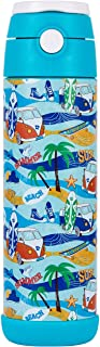Snug Flask for Kids - Vacuum Insulated Water Bottle with Straw (Beach, 17oz)