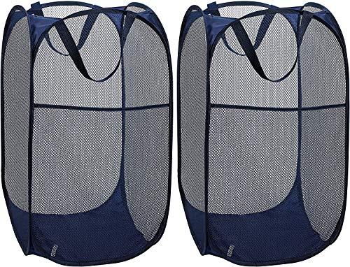 Delgeo Cestos para Lavandería Plegables 【2 Pack】 Plegable Pop-Up Malla Cesto de Ropa Bolsa Bin Cesto Juguete Organizador de Almacenamiento Cesta de Lavandería Independiente con Asas Extendidas(Azul)