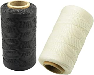 Mmei 2pcs 284yd 150D 1mm Sewing Waxed Thread Hand Stitching Cord for Leather Craft DIY (1 pc Black and 1 pc White)