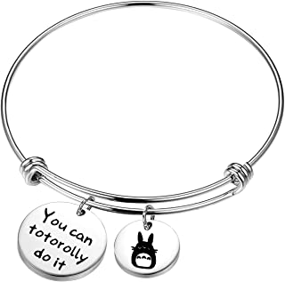 KUIYAI Totoro Gift You Can Totorolly Do It Bracelet Cute Totoro Charm Bangle Inspirational Gift