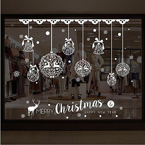 DAY8 Stickers Muraux Noël Décoration Vitre Fenêtre Autocollants Noël Bébé Fille Déco Noël Enfants Garçon Chambre Salon Wall Stickers Amovible (70 * 50cm, A)