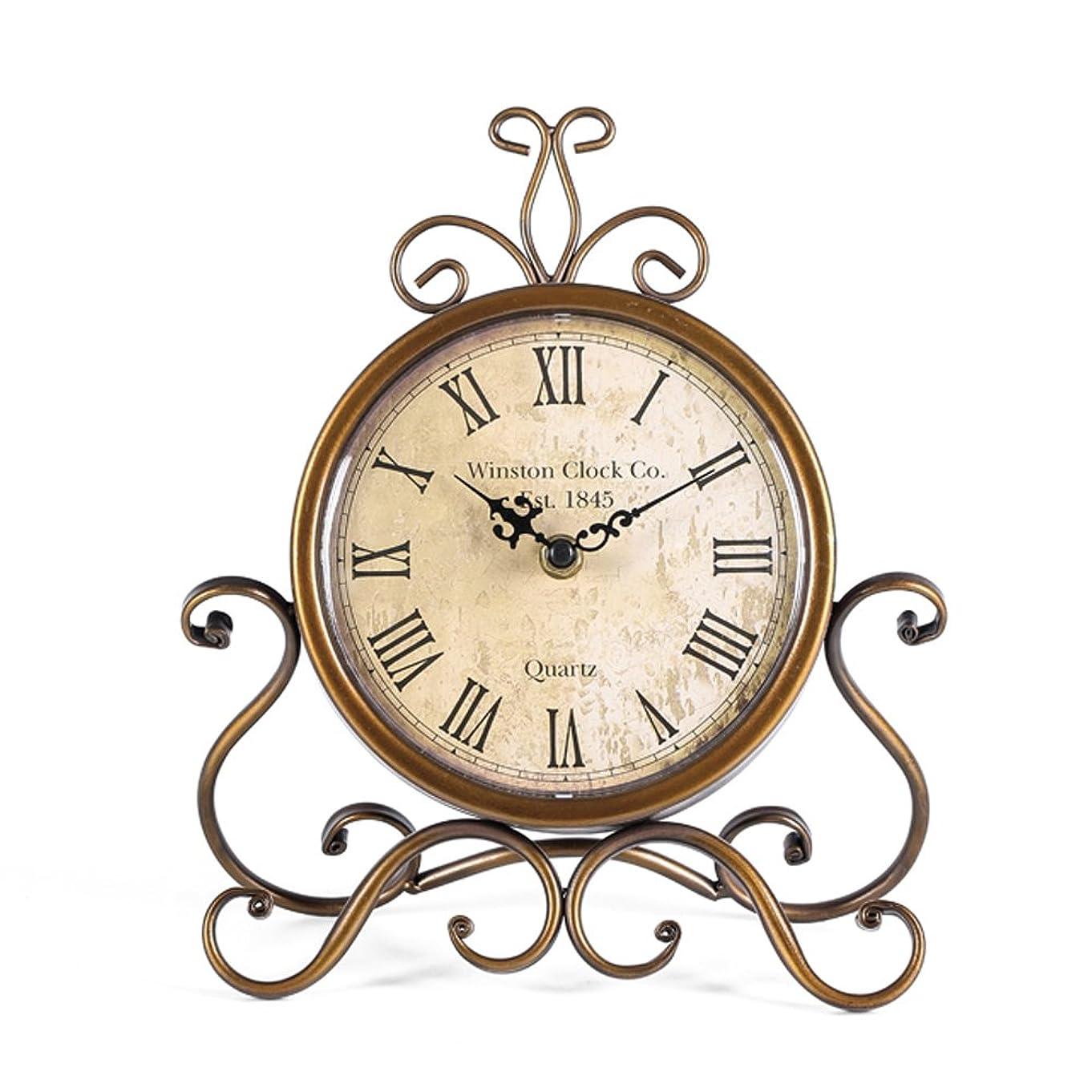 評決きれいにインペリアルHOMEMOM 置き時計 アンティーク レトロ 置時計 小さい 静音 電池式 クラシック 卓上時計(ゴールド)